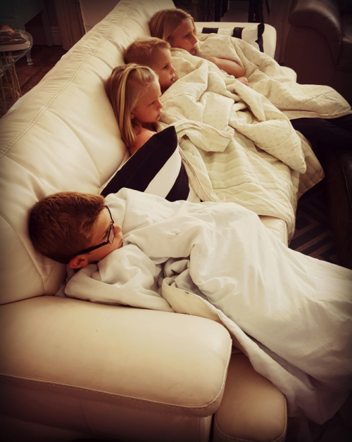 Preston and kids on sofa