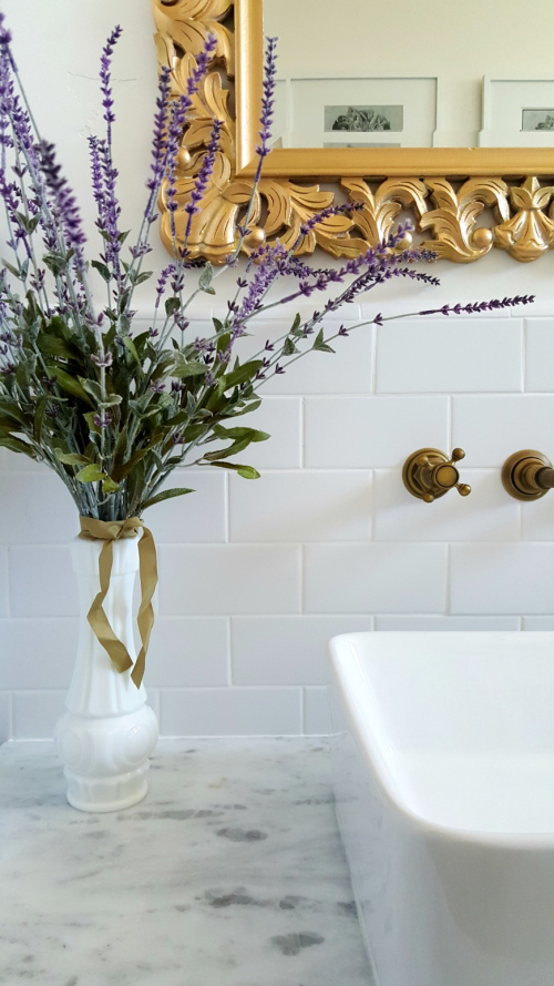 Poppy hill guest bath flowers